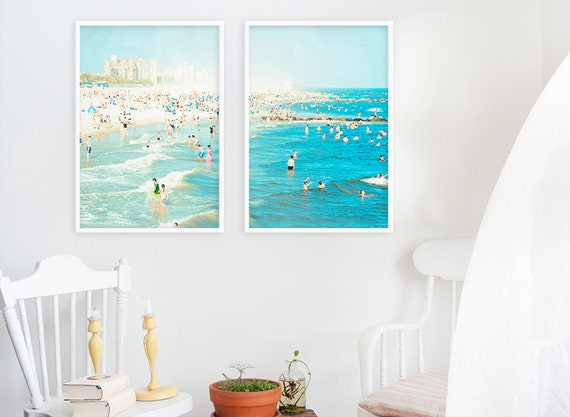 """Oversized Art // Beach Photography // Diptych Prints // Large Scale Art Set for Beach Style Home Decor // Coney Island """"Peeps Dips"""""""