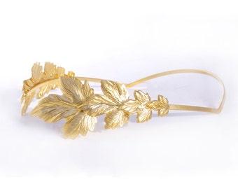 Glorious Leaves Greek Tiara, Greek Goddess Headband, Roman Emperor Crown, Gold Leaves Hair Accessories, Bridal Hair Accessory, Fairy Jewelry