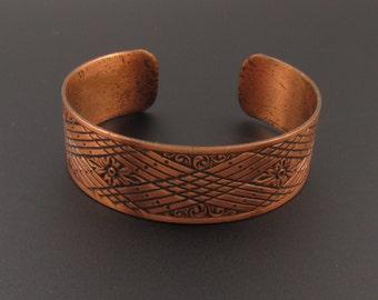 Copper Bracelet, Copper Cuff Bracelet, Engraved Copper Bracelet, Cuff Bracelet, Southwestern Bracelet