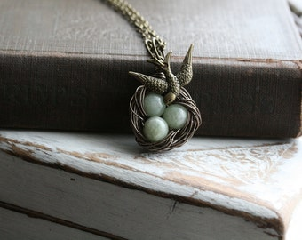 Nest Necklace, Three Eggs,  Bird Nest Necklace, Wife, Gift for Mom,Grandmother Gift, Gift for Wife, New Mom - Beginnings