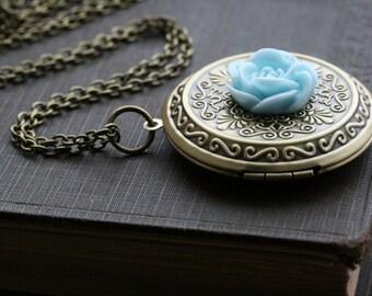 Large locket necklace , round locket necklace, gold necklace locket,  flower locket round, gift for her, jewelry gift idea - DIANE