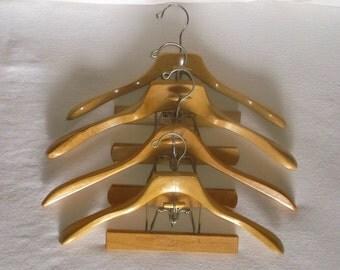 4 Vintage Wooden SETWELL Suit Hangers . 4 count