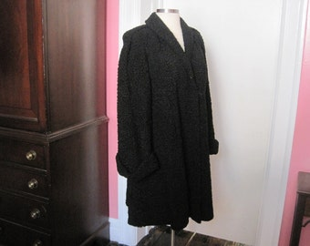 Persian Lamb Long Vintage Fur Coat Black Good Condition Size 14 16 Plus
