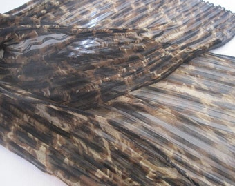 Leopard Accordian Scarf in Black Brown and Tan Crinkle Pleat Oblong