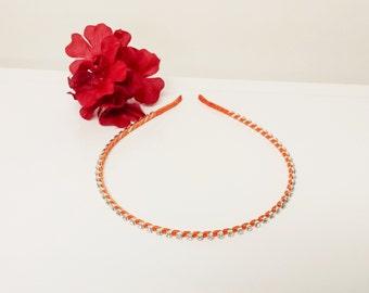 Pumpkin Orange Satin Ribbon Enhanced Rhinestone Bridal Headband for Bridesmaid, Prom, Flower Girl or Wedding Party