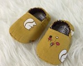 0-3 Months Squirrels on Mustard Yellow Baby Bootie - Elastic Back - Ready to Ship