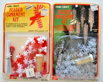 Vintage Beaded Christmas Ornament Kits Set of Two Candy Canes & Icicles Fibre Craft