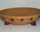Vintage Munising, Michigan Footed Wood Bowl, Carved Finger Print, Rustic Kitchen, Farm House Kitchen, Wood Salad Bowl, Cottage Chic