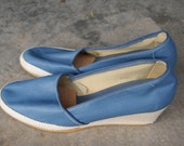 Vintage Blue Browsabouts Wedge Oxford Slip On Toms Style 7. 5M