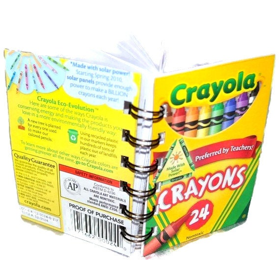 Recycled Mini Crayon Spiral Bound Notebook.