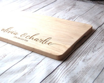 Personalised Name chopping board for couples - Custom Cutting board -  Weddings - Engagment - Anniversary - medium size 20 x 30 cm