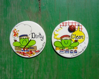 Dishwasher Magnet Set Vintage 80s Clean Dirty