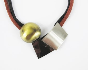 Vintage 1980s Leather Necklace Modern Geometric Shapes Metal Gold Pewter Tone Statement Choker Burgundy Red Black Suede Necklace E754