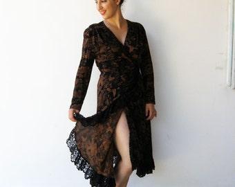 Vintage Wrap Dress / Black and Brown Dress / Size M L