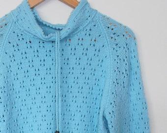 aqua blue...vintage hand knit wool jumper or sweater