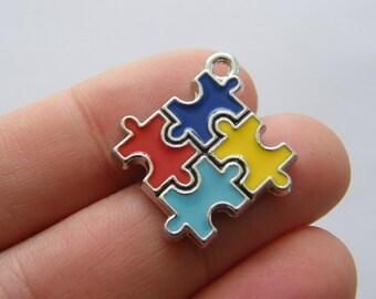 1 Puzzle piece charm silver tone P480