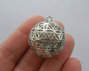 1 Flower of life ball pendant silver tone M731