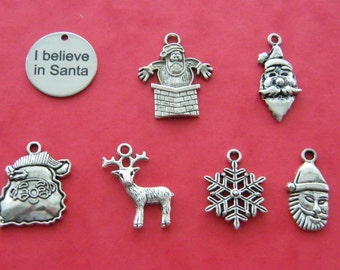 The I believe in Santa collection - 7 different antique silver tone charms