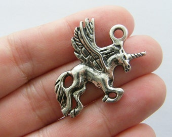 BULK 20 Alicorn charms antique silver tone A531