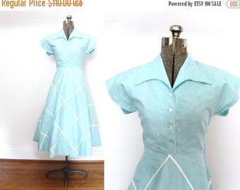 ON SALE 40s Dress / 1940s Robins Egg Blue Dress