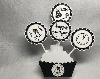 Happy New Year's Celebration Wine Glasses Party Hat Clock Cupcake Toppers