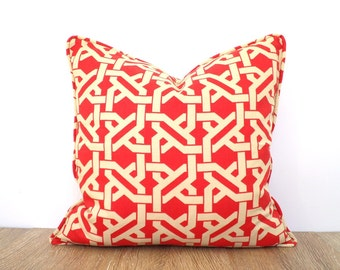 Red throw pillow cover 18x18 lattice print, geometric sofa cushion piping, red and beige couch pillow case, trellis cushion for dorm room