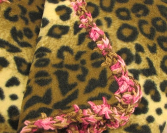 Leopard Spots Fleece Throw Blanket - Brown and Cream with Pink and Brown Crochet Edging
