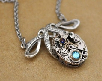 petite art deco, TINY TIME TRAVELER antiqued silver steampunk watch movement necklace