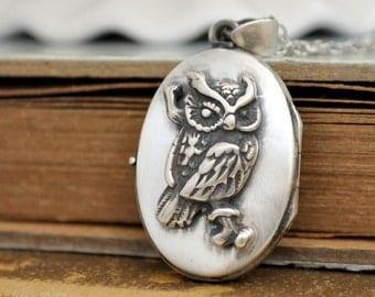 sterling silver owl locket necklace, baby owl locket, the wise one, animal lover locket,  bird locket necklace, 925 sterling silver