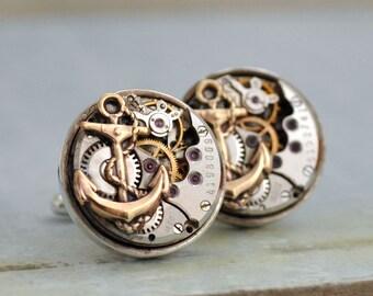 steampunk cufflinks, sterling silver anchor cuff links, watch movement cuffs, JOURNEY, vintage 17 jeweled watch movement, anchor cuff links,