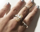 Earthen Amber Raw Quartz Midi Ring