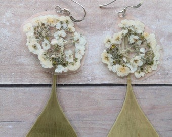 White Alyssum and Green Ginkgo Flower Earrings - Made from Real Pressed Flowers - Sterling Silver Earrings