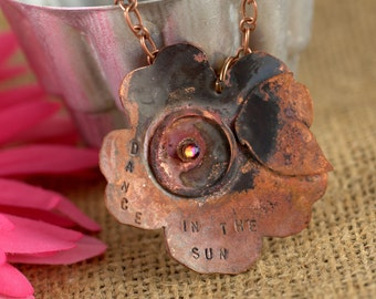 Copper Hand Forged Flower and Butterfly Necklace with Swarovski Volcano Crystal, Dance in the Sun, Hand Stamped