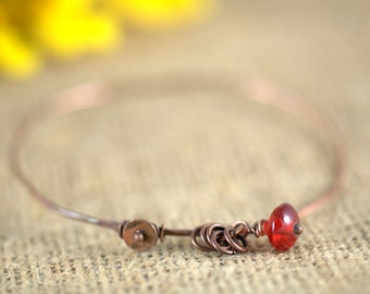 Hand Forged Copper Bangle Bracelet with Red Glass Bead, minimalist, boho chic, dangle