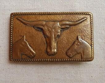 1960's, brass, cowboy belt buckle