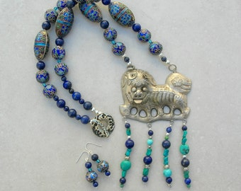 FABULOUS Old Chinese Silver Lion/Fu Dog Pendant, Cloisonné, Turquoise & Lapis Beads, Saki Clasp, Statement Necklace Set by SandraDesigns