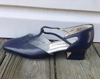 Navy Leather T-strap Heels, Size 8