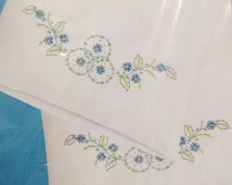 Vogart pillowcases, vintage DIY embroidery or painting, needlework supplies, floral pillowcases, white polyester cotton, stamped goods