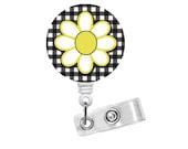 """Daisy Flower 1.5"""" - ID Badge Reel - Nursing Badge - Teacher Badge Reel - Medical Badge - PICU Badge - Pretty Badge Holder - Gift for Her"""