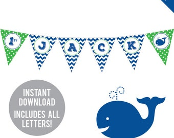 INSTANT DOWNLOAD Whale Party - DIY printable pennant banner - Includes all letters, plus ages 1-18