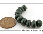 SALE 45% off - 8mm AVENTURINE GREEN Lampwork Beads Glass Spacers Handmade - The Spacer Bead Shop