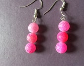 Pink frosted spiderweb agate earings