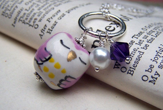 Sleeping Owl Necklace Cute Little Owls Charms Purple Owl Jewelry Girls Gift for Her