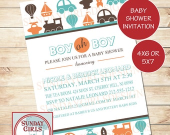 Transportation Baby Shower or Birthday Invitation-Digital Custom Card