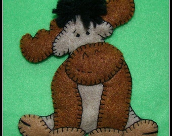 Moose ornament-magnet combo-handmade felt-embroidered-comic design. Great gift for moose lovers.