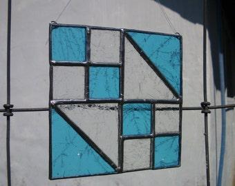 Stained Glass, Suncatcher, Jewel Box Pattern, Blue Clear