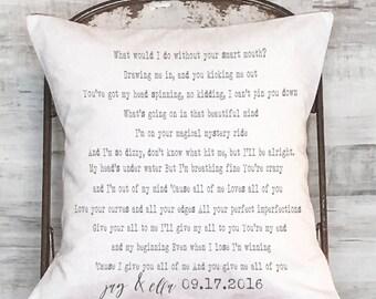 Custom Song Lyrics Cotton Anniversary Gift Wedding Gift Personalized Song Lyrics Pillow Cover