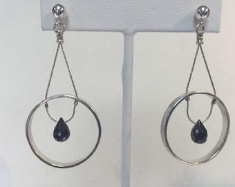Hematite Double Hoop Sterling Silver Earrings