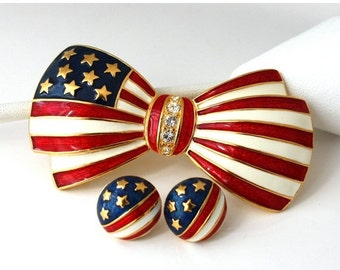 SALE Vintage JOAN RIVERS Patriotic Brooch and Earrings