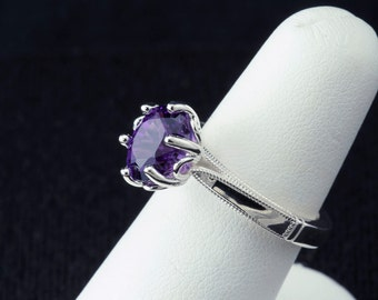 2.75ct. Zambian Amethyst Floral design Unique Engagement Ring, February Birthstone Ring & 6th Anniversary Gift